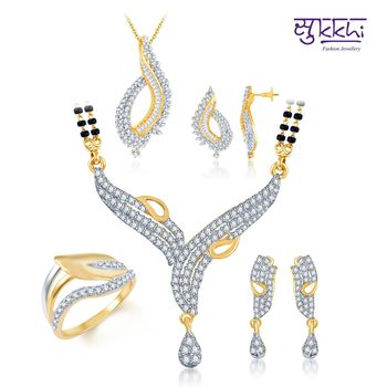 Sukkhi Floral Charm Gold & Rhodium Plated CZ jewellery-combo
