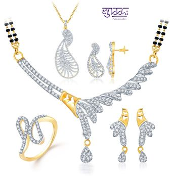 Sukkhi Shimmering Gold & Rhodium Plated CZ jewellery-combo