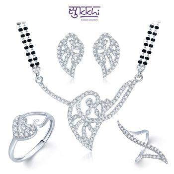 Sukkhi Leafy Charm Rhodium Plated CZ jewellery-combo