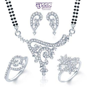 Sukkhi Divine Rhodium Plated CZ jewellery-combo