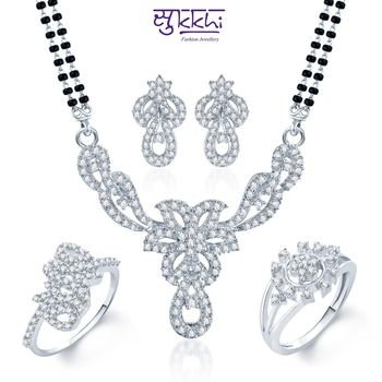 Sukkhi Graceful Rhodium Plated CZ jewellery-combo