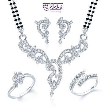 Sukkhi Marvellous Rhodium Plated CZ jewellery-combo