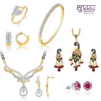 Sukkhi Designer Gold & Rhodium Plated CZ jewellery-combo