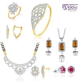Sukkhi Paisley Gold & Rhodium Plated CZ jewellery-combo