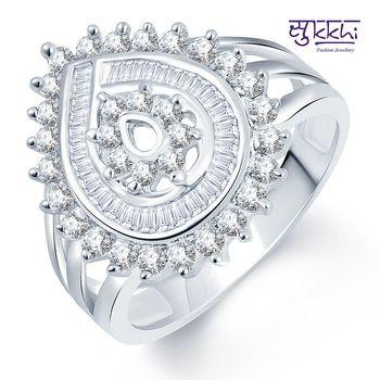 Sukkhi Divine Flower Rhodium Plated CZ Ring