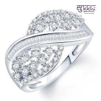 Sukkhi Designer Rhodium Plated CZ Ring