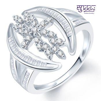 Sukkhi Fashionable Rhodium Plated CZ Ring