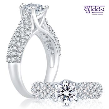 Sukkhi Cluster Rhodium Plated CZ Ring