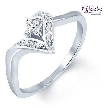 Sukkhi Paisley Rhodium Plated CZ Ring