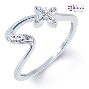 Sukkhi Incredible Rhodium Plated CZ Ring