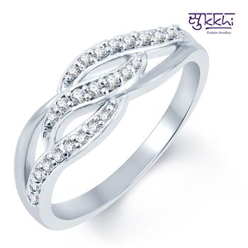 Sukkhi Floral Rhodium Plated CZ Ring