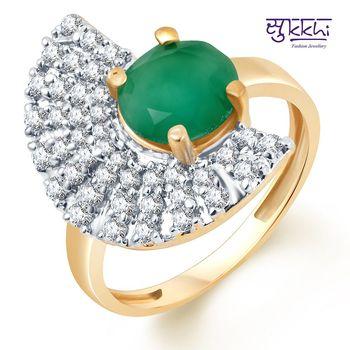 Sukkhi Stylish Two Tone CZ Emerald Ring