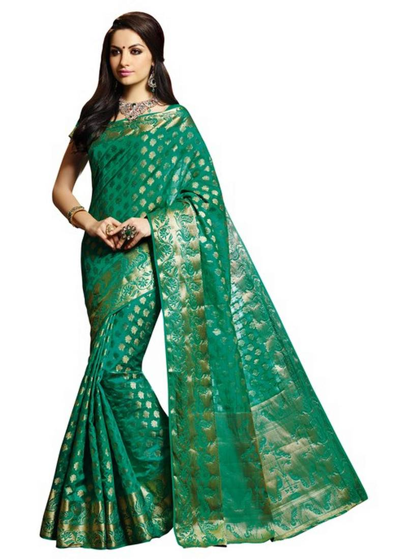 Buy turquoise green zari woven artificial silk saree with