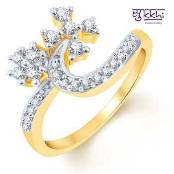 Sukkhi Artistically Crafted Two Tone CZ Ring