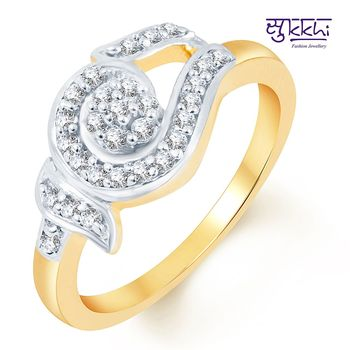 Sukkhi Pretty Two Tone CZ Studded Ring