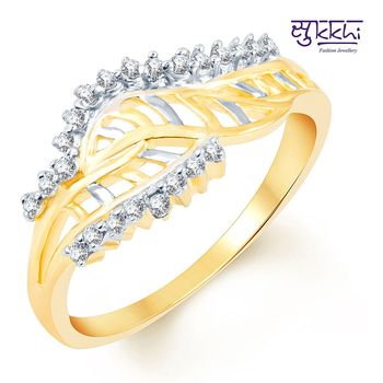 Sukkhi Glittery Two Tone CZ Studded Ring