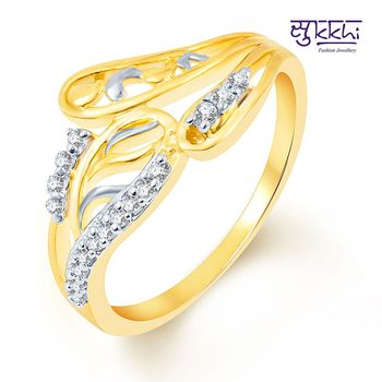 Sukkhi Incredible Two Tone CZ Studded Ring