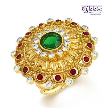 Sukkhi Sublime Two Tone CZ Studded Ring