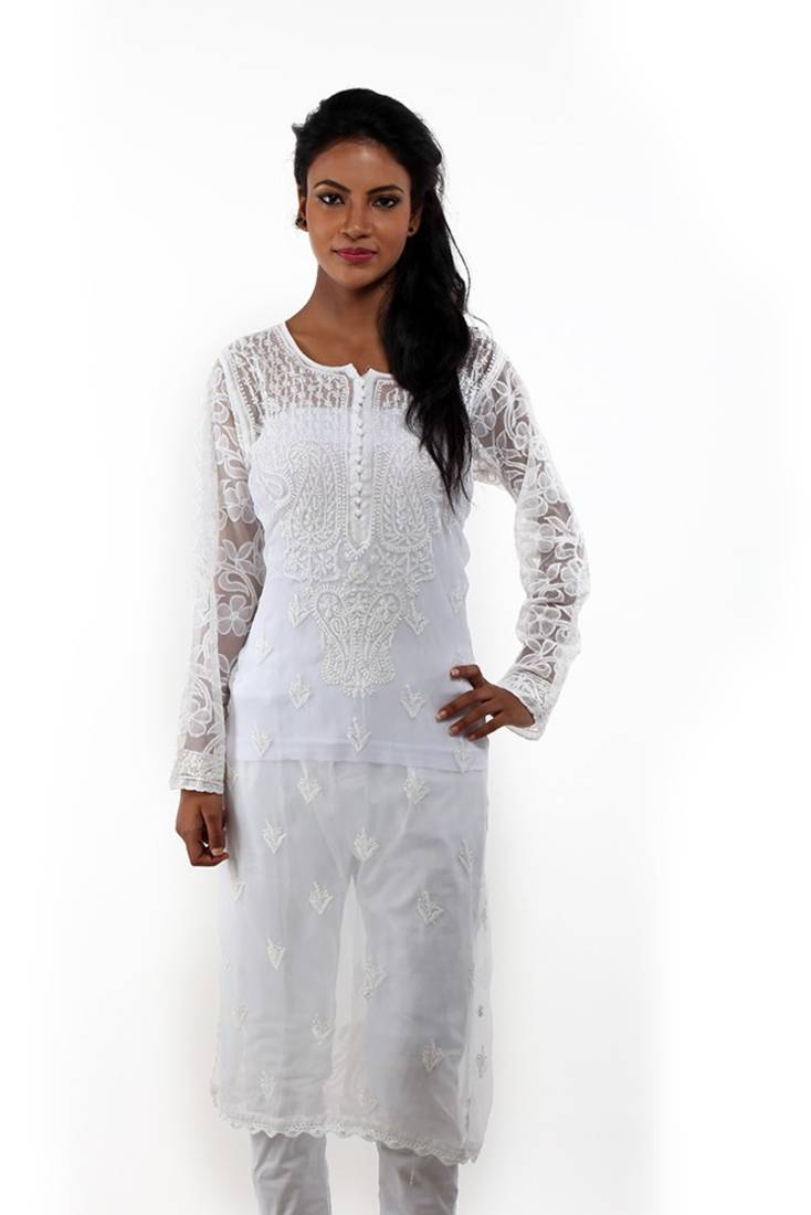 0c6a044ec Ada Hand Embroidered Designer Small White Faux Georgette Lucknow ...