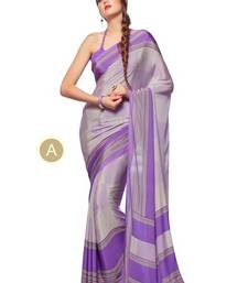 Buy Grey printed crepe saree with blouse crepe-saree online