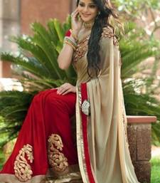 Buy Red and Beige embroidered chiffon saree with blouse chiffon-saree online