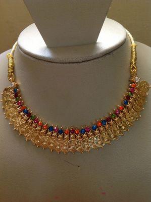 Goddess Laxmi Necklace Set for Navratri Special / Diwali Festival Gold Plated