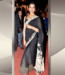 Buy Deepika Padukone Black and White Heavy Saree deepika-padukone-saree online