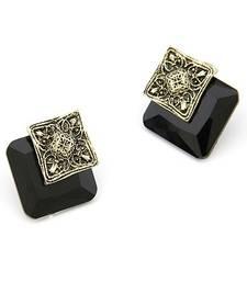 Elegant Black Square Studs