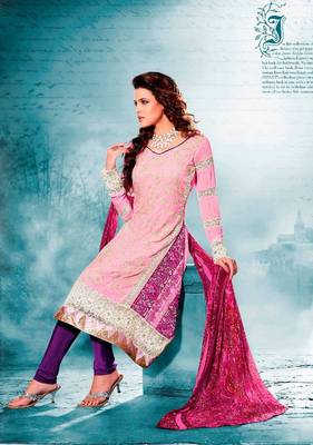 Elegant Aesthetic Karachi Heavy Embroidery Georgette Salwar Kameez 5404B