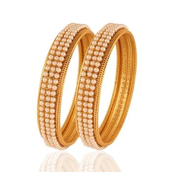 Gold Plated Pearl Stylish Bangles