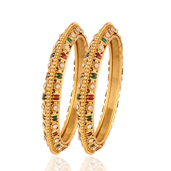 gold plated maroon green white stone wedding bangles