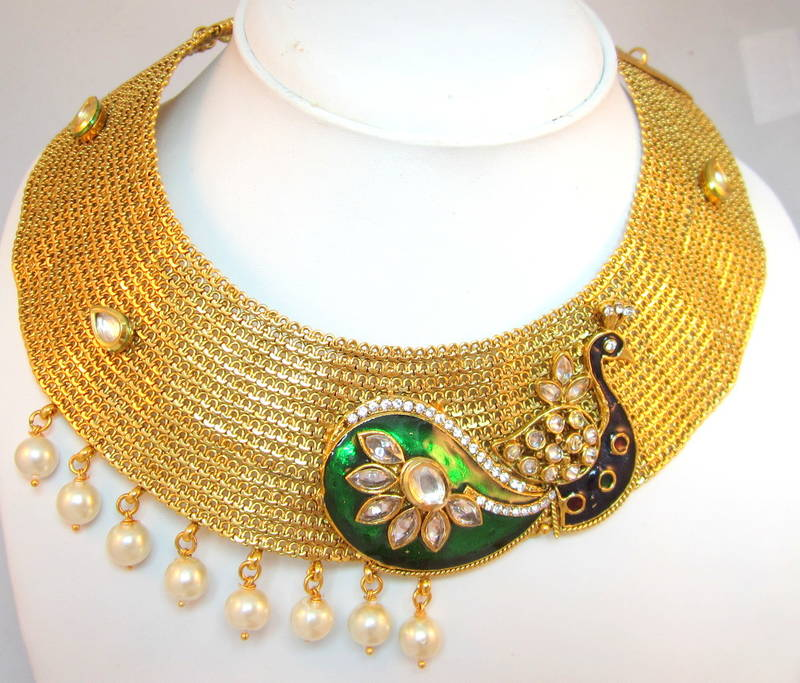 cde08fdd20900e Beautiful Peacock design GOLD broad choker necklace Jhumka earring ...