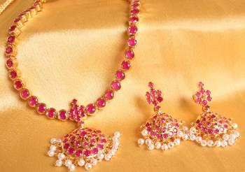 52c6889cc429d Beautiful semi precious ruby studded south indian necklace set dj00429