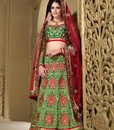 Buy Weding Special Offer Green Heavy Silk embroidered unstitched lehenga-choli lehenga-choli online