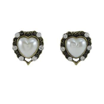 "DIOVANNI ""Bronze Heart Pearl"" CZ Diamond Studded Heart Pearl Earrings in Bronze Tone"