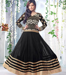 Buy Styles Closet Black georgette embroidered semi stitched salwar with dupatta anarkali-salwar-kameez online