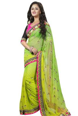 Buy online pretty green net saree