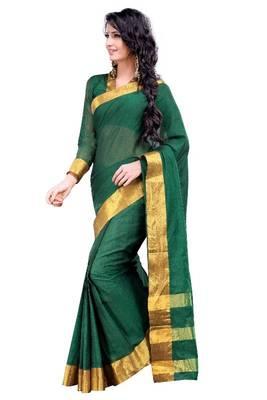 ISHIN Cotton Green Sarees MFCS-Peshwai