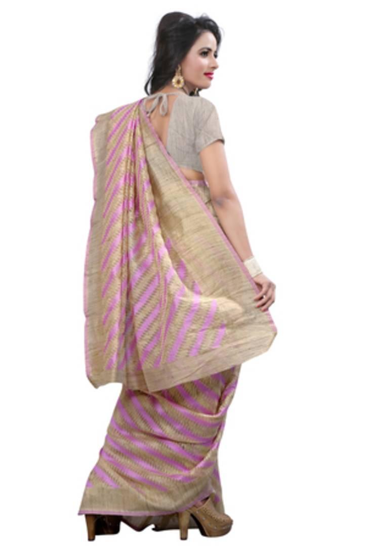 Buy Pink Plain Cotton Silk Saree With Blouse Online