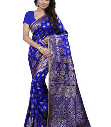 Buy Blue plain Banarasi Silk saree with blouse traditional-saree online