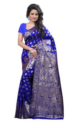 Blue plain Banarasi Art Silk saree with blouse