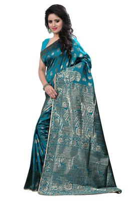 Turquoise plain Banarasi Silk saree with blouse