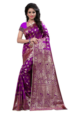 Purple plain Banarasi saree with blouse