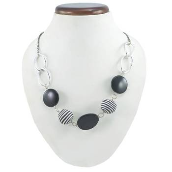 "Elegant ""Black And White Stripes"" Corporate Statement Necklace In Black Onyx Gemstone Design"
