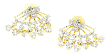 The Jewelbox Flower Marquise American Diamond CZ Gold Plated Dangling Earring for Women
