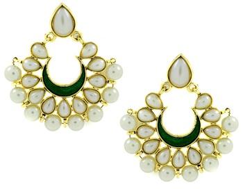 Chaand Bali Green Enamel Meenakari Gold Plated Pearl Jhumki Earring for Women
