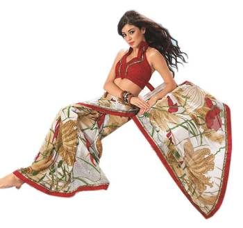 Bollywood Designer Weightless Georgette Saree With Elegant Border & Blouse Piece 4001A