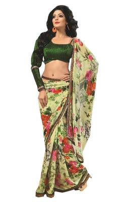 Bollywood Designer Weightless Georgette Saree With Elegant Border & Blouse Piece 4005B