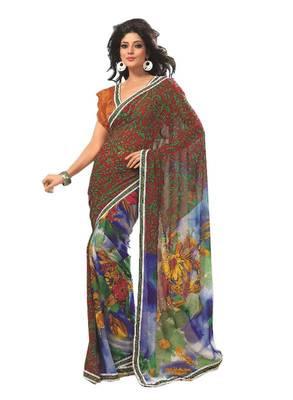 Bollywood Designer Weightless Georgette Saree With Elegant Border & Blouse Piece 4010B