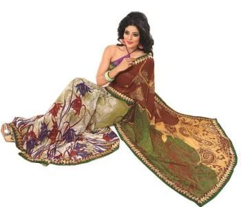 Bollywood Designer Weightless Georgette Saree With Elegant Border & Blouse Piece 4011B
